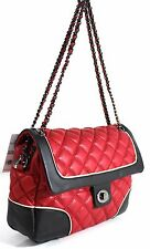 Ladies Women Faux Leather Soft Quilted Tote Chain Shoulder Bag Handbag Red