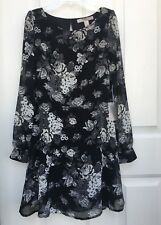 New FOREVER 21 Contemporary Floral Cut Out Back Chiffon Dress XS NWT