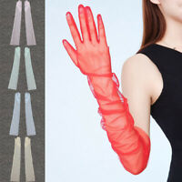 Dress Gloves Sunscreen Gloves Ultra Thin Transparent Long Gloves Sheer Tulle New