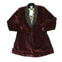 NWT Soft Surroundings Savile Row Jacket Velvet Blazer Maroon Red Size Medium