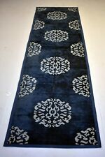 Attractive Blue Chenille Runner Floral Traditional Design Decor 2'5''x9' Feet