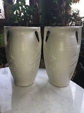 """Vtg Pair Rare 14"""" McCoy Sand Dollar Art Vase USA Midcentury Deco White Fireplace"""