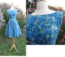 "Vtg 1950s Teal/Blue Floral silk organza fit n flare cocktail dress W 24-25"""