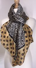 Silk Scarf Animal Print Spots Gold Silky Soft Cool Long Oversized Stunning NEW