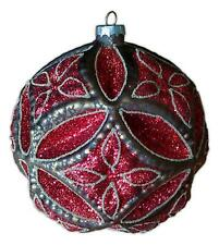 """Red & Gold Large Glittery Glass Ball Christmas Ornament, 6"""" Diameter, by Ganz"""