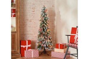 Bethlehem Lights 5' Slim Flocked Downswept Christmas Tree QVC Holiday Home Mult
