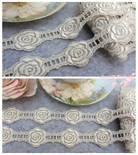 1Y Floral Venise lace Trim~Pearlized Ivory~The Rose in Memory~Wedding/DIY~RARE~