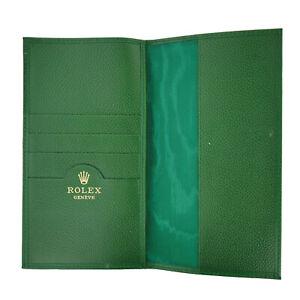 ROLEX VINTAGE UNISEX GREEN LEATHER CREDIT CARD WALLET /CHECKBOOK HOLDER 70.06.02