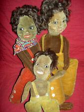 Three Norah Wellings, c1927, Zuzu black cloth velveteen island dolls, glass eyes