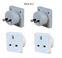 2 pin uk to eu europe power adaptor plug converter travel adapter- 2 Pack