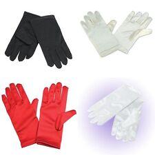 Childs Girls Holy Communion Flower Girl Short Gloves White Black Red Cream