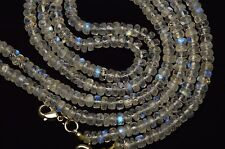 """NATURAL MOONSTONE FLASHING BLUE FIRE FACETED 5.5MM RONDELLE BEADS NECKLACE 19"""""""