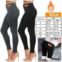 Women Thick Fleece Velvet Lined Pants Thermal Leggings Warm High Waist Stretchy