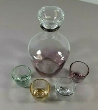 """French Cordial Aperitif Sherry Glasses Set of 4 with 7"""" Serving Bottle 1960s"""