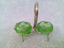 Pair Green Glass salt Liners and stand