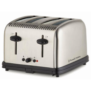 Russell Hobbs Classic Electric 4-Slice Bread Toaster Stainless Steel Brushed SLV