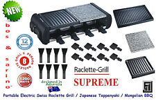 BOS & SARINO Swiss Raclette Cheese Grill Yakitori Hibachi SUPREME BBQ 2 Cooktop