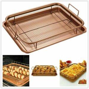 Copper Oven Non-Stick Crisper Mesh Basket Baking Tray Shef 2pcs Set Crisp Chips