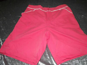 Millers long leg  sz 16 quick dry hot pink white piping  BOARD SHORTS BNWT