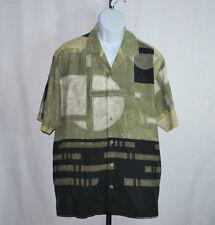 Tommy Bahama 100% Silk Multi-Color Geometric Hawaiian Camp Shirt Men's Sz L