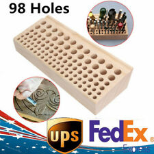 NEW 98 Holes Leather DIY Craft Wood Tool Rack Wooden Stamp Holder Organizer USA