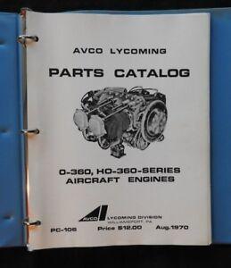 1970 AVCO LYCOMING 0-360 & HO-360 AIRCRAFT AIRPLANE ENGINE PARTS CATALOG MANUAL