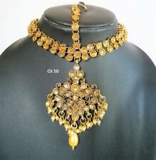 Indian Bollywood Jewelry Passa Wedding Damini Head Piece Pearl CZ Maang Tikka