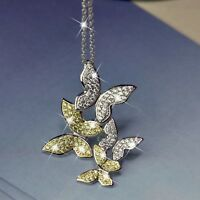 18K 2-TONE GOLD MADE WITH SWAROVSKI CRYSTAL BUTTERFLY PENDANT LONG NECKLACE 64CM