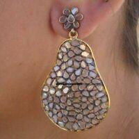 925 Silver Diamond Victorian Earring Natural Polki Diamond Handmade Earring