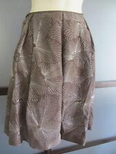 Talbots Skirt 10 10P Petite Pure Silk Brown Metallic Ebroidery A Line Gorgeous