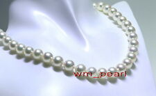"round AAAAA Luster 18""9-10mm REAL NATURAL south sea white pearl necklace 14K"