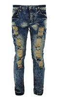 Mens Peviani Stretch Acid / ice Wash Slim Fit Ripped Distressed Denim Jeans Pant