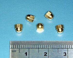 M2.5 Miniature Brass Hex Acorn Dome Nuts x10