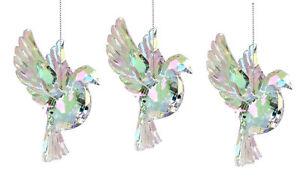 3 x Gisela Graham Hanging Iridescent Flying Dove Christmas Tree Decorations