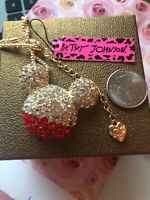 Betsey Johnson Necklace MICKEY MOUSE EARS Gold red CRYSTALS  Gift box & bag