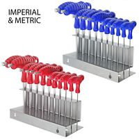 T Handle Hex Key Set IMPERIAL SAE + METRIC Allen Allan Wrench Tool + Stand x 20