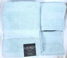 NEW RALPH LAUREN WESCOTT 3 PC SET LAGOON BLUE BATH+HAND+WASH CLOTH TOWELS