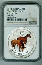 AUSTRALIA 2014 $1 YEAR OF THE HORSE COLORIZED 1 OZ. .999 SILVER NGC MS-70 GEM BU