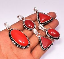 Red Coral Pendant Wholesale Lots 5pcs 925 Sterling Silver Plated Pendants