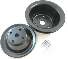 SB Chevy SBC Black 1 Groove Long Water Pump Pulley Kit 283 327 350 400 V8 LWP