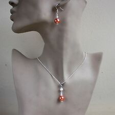 Coral orange pearl pendant necklace earrings silver wedding bridal jewellery set