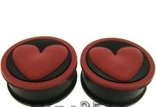 PAIR RED HEART 0G CONCAVE SOFT SILICONE PLUGS TUNNELS