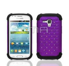 Rhinestone Bling Impact Case For Samsung Galaxy Ace 2 II-X GT-S7560M - Purple