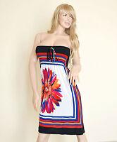 ABITO Vestito Donna COPRICOSTUME Maxi Dress GONNA LUNGA Mare BIANCO MULTICOLOR
