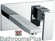 Square Wall Bath Mixer, Wall Basin Mixer With Square Bath Spout  Chrome wels