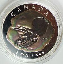 2008 Canada $4 Proof Silver Coin Triceratops- 1/2 oz .9999 Silver w/ Box & COA