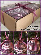 6X Decoupage Christmas Baubles Xmas Purple/Plum Shabby Chic
