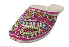 Women Slippers Indian Handmade Traditional Flip-Flops Pink Clogs Jutties US 9