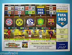 Panini Adrenalyn XL FIFA 365 2016 1.Serie - Team Logos, Team Mate, Nr. 52 - 102
