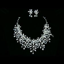 Bridal Wedding Rhinestone Crystal Necklace Earrings Set FN04